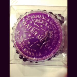 New Orleans Water Meter Soap on a Mardi Gras bead ya'll PURPLE